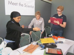 Three local sixth-formers did a summer project in my lab, funded by the Nuffield Foundation. As part of this, they collected experimental data from members of the public in Newcastle's Centre for Life. Here, they are getting their equipment set up ready for another busy data running experiments. Their work ended up being published in two scientific papers, on which the young people were authors, both in the journal i-Perception.