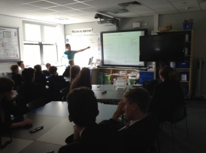 Paul explaining 3D maths to children at SHS