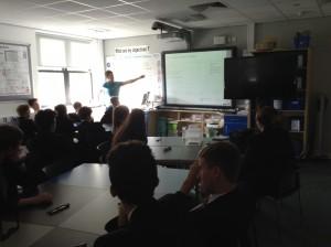 Paul explaining 3D maths to children at SHS